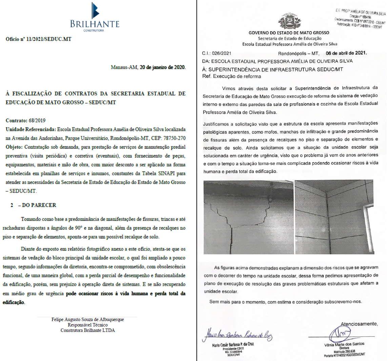 Imagem: documetnos escola amelia Escola estadual no Parque Universitário tem risco de desabamento