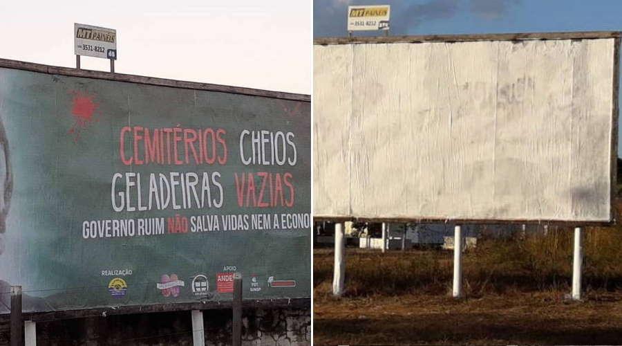 Imagem: outdoor sinop Vândalos atacam outdoor com crítica a Bolsonaro em Rondonópolis
