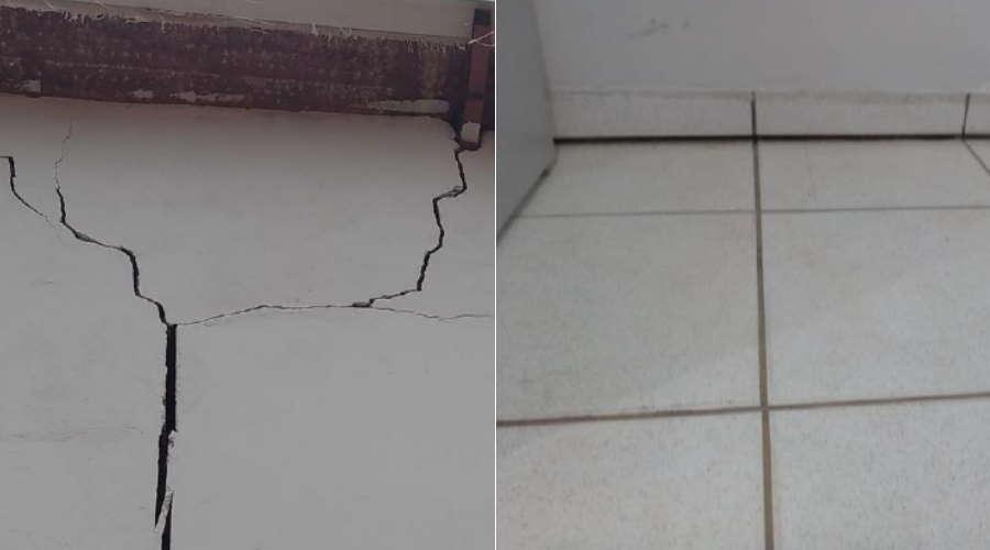 Imagem: parede solo escolaamelia Escola estadual no Parque Universitário tem risco de desabamento