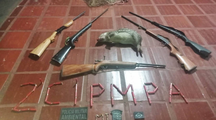 Imagem: poliica ambiental Polícia Ambiental apreende armas de fogo e animal silvestre abatido
