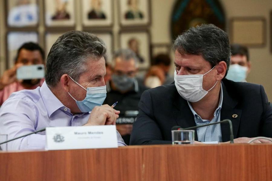 Imagem: Mauros mendes e ministro Ministro afirma que ferrovia estadual é bem-vinda e aumenta área de influência do modal