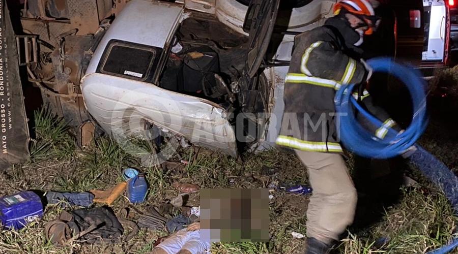 Imagem: acidente tangara Motorista que trabalhava em Rondonópolis morre após cabine de caminhão cair sobre ele