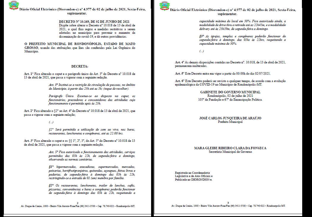 Imagem: decreto novo Decreto confirma mudança em horários e define restrições
