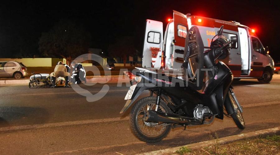 Imagem: motocicleta envolvida Motociclista se envolve em acidente na avenida dos Estudantes