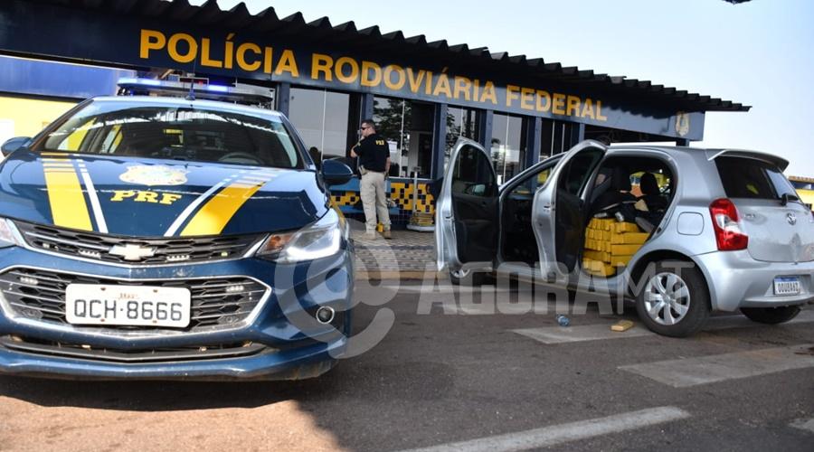Imagem: A apreensao foi realizada atraves de uma acao conjunta entre a DERF e PRF Tráfico fica no prejuízo após apreensão de mais de meia tonelada de droga em Rondonópolis