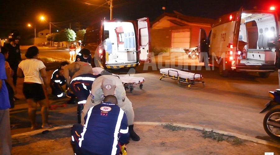 Imagem: Colisao moto e caminhonete no bairro Maria Tereza Em rua sem sinalização, acidente entre dois veículos deixa motociclista gravemente ferido