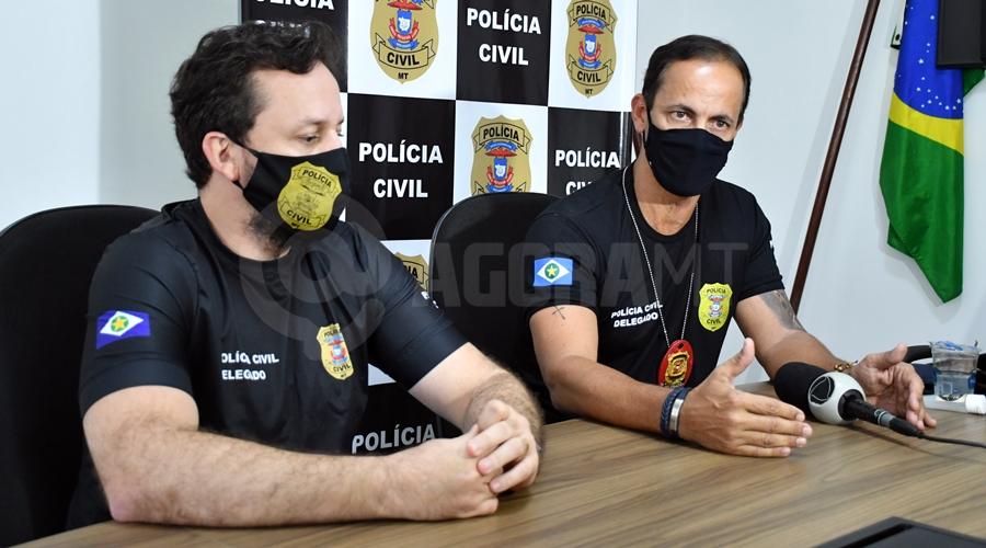 Imagem: Delegados em coletiva Contador de Rondonópolis é apontado como mandante de latrocínio ocorrido contra advogado