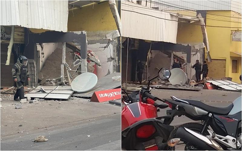 Imagem: Explosao vg Vídeo mostra explosão em caixa eletrônico de supermercado em VG; Veja