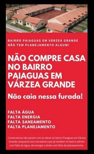 """Imagem: VG Moradores fazem """"campanha contra"""" Várzea Grande e apelo a Joe Biden"""