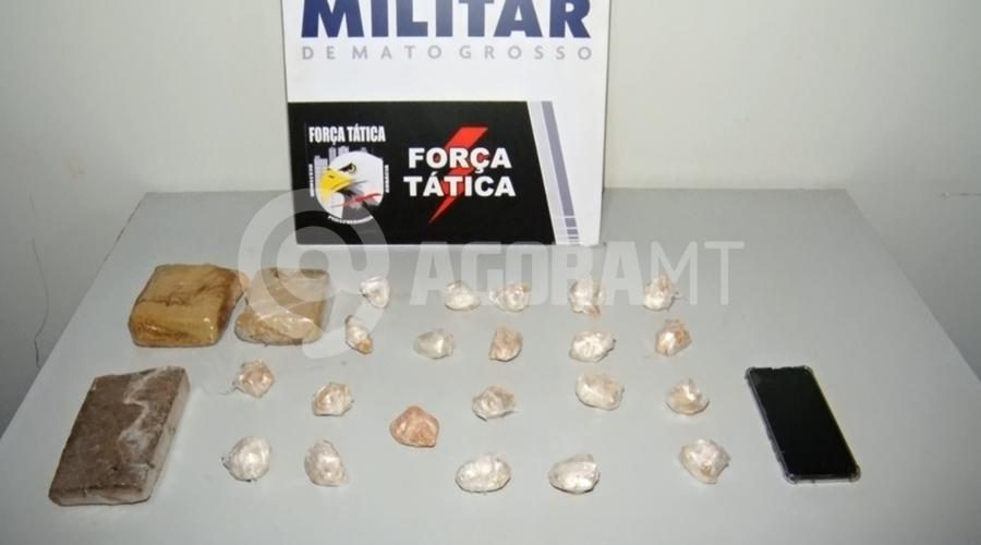 Imagem: a8babd41 0aaa 4f5a bfd6 fa15e84a22bd Jovem é preso e entorpecentes apreendidos pela Força Tática