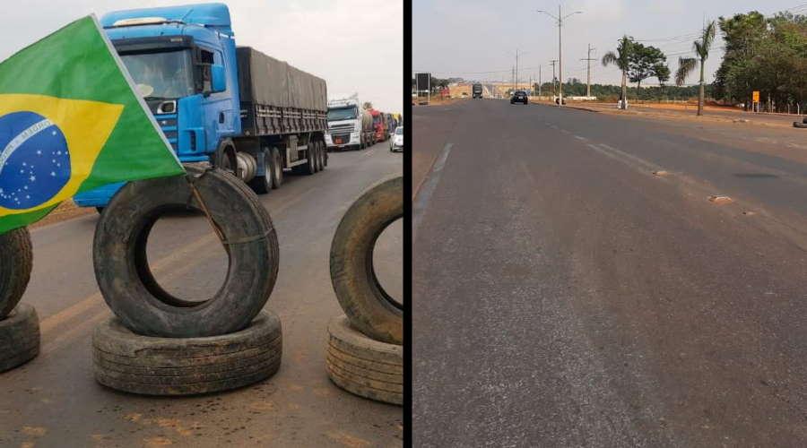Imagem: interdicao antesedepois PRF libera tráfego em Primavera do Leste; apenas dois municípios registram bloqueios em MT