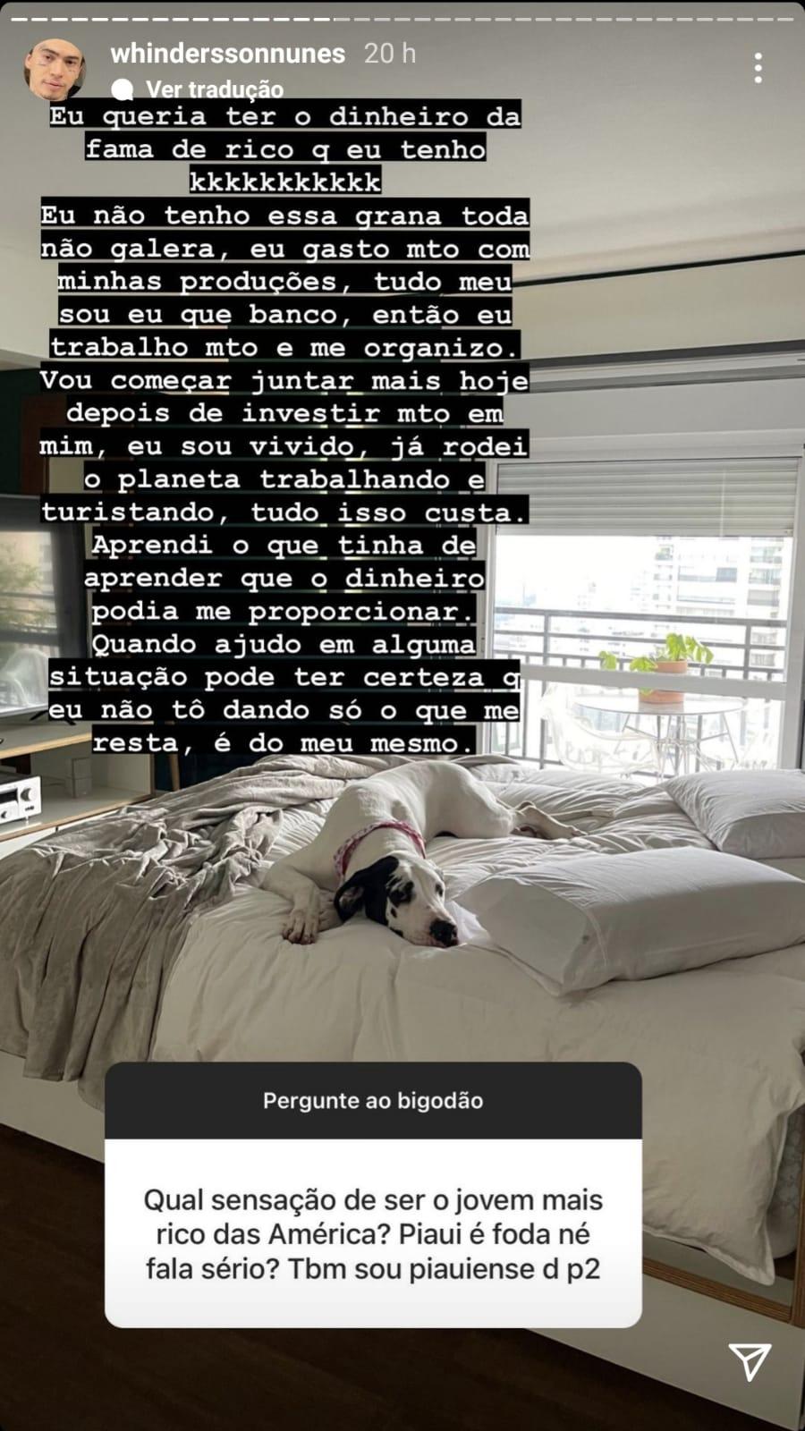 Imagem: WhatsApp Image 2021 10 11 at 1.26.32 PM Whindersson Nunes nega que seja rico: 'Não tenho essa grana toda'
